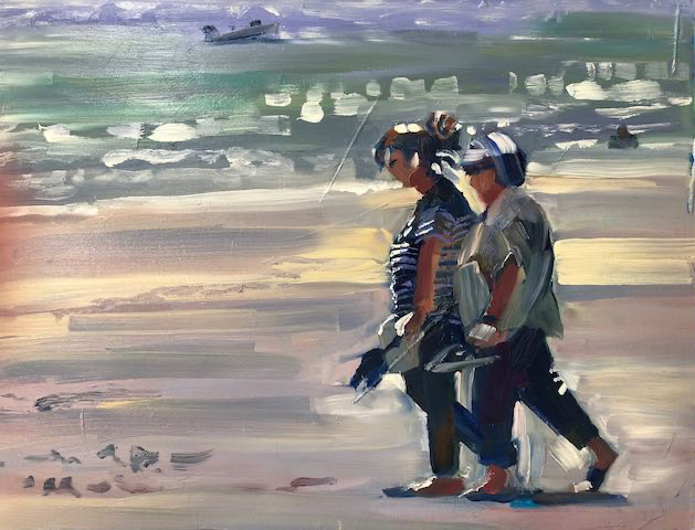 Catching up on the Beach. Oil on board. 40cm x 50cm.